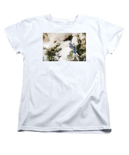 Women's T-Shirt (Standard Cut) featuring the photograph Bluebird On Snow-laden Cedar by Robert Frederick