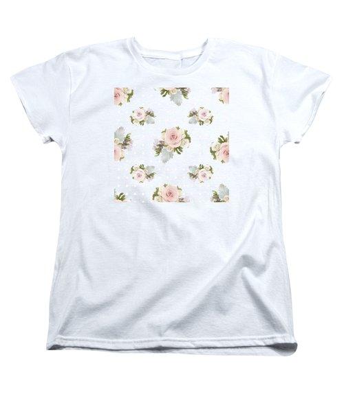 Blush Pink Floral Rose Cluster W Dot Bedding Home Decor Art Women's T-Shirt (Standard Cut) by Audrey Jeanne Roberts