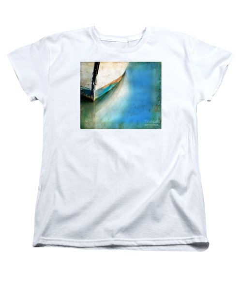 Women's T-Shirt (Standard Cut) featuring the photograph Bow Of An Old Boat Reflecting In Water by Jill Battaglia