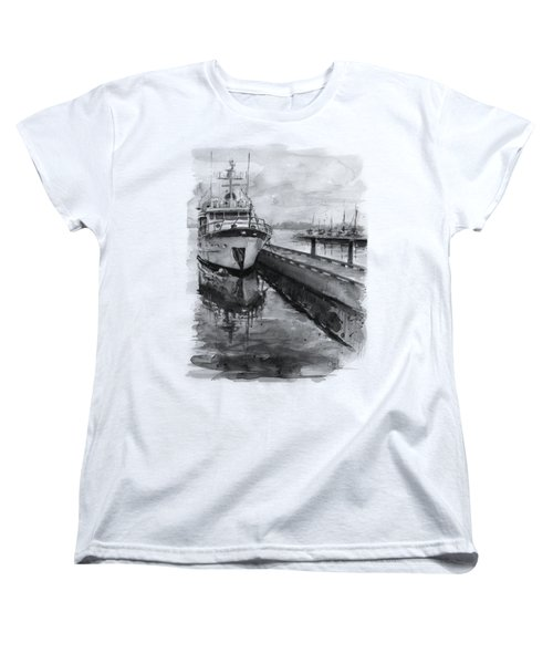 Boat On Waterfront Marina Kirkland Washington Women's T-Shirt (Standard Cut) by Olga Shvartsur