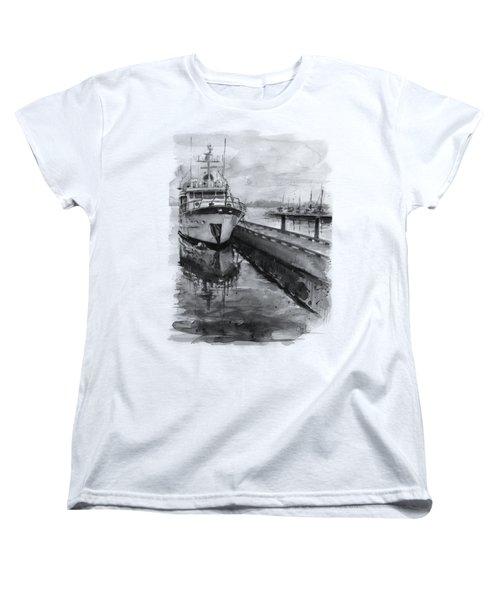 Boat On Waterfront Marina Kirkland Washington Women's T-Shirt (Standard Fit)