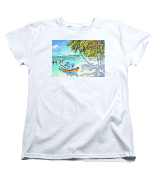 Women's T-Shirt (Standard Cut) featuring the painting Boats  by Dmitry Spiros