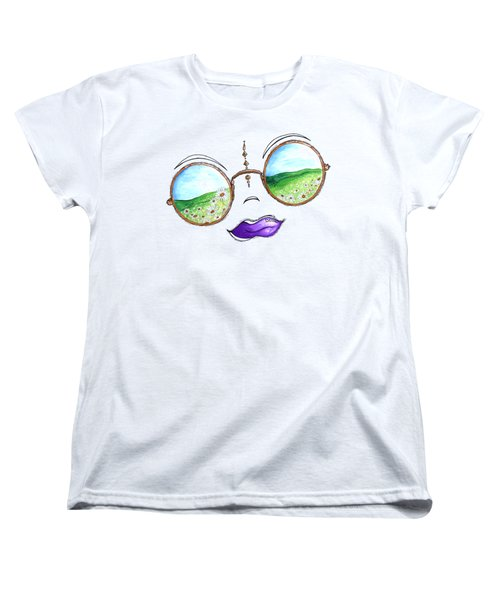 Boho Gypsy Daisy Field Sunglasses Reflection Design From The Aroon Melane 2014 Collection By Madart Women's T-Shirt (Standard Cut)