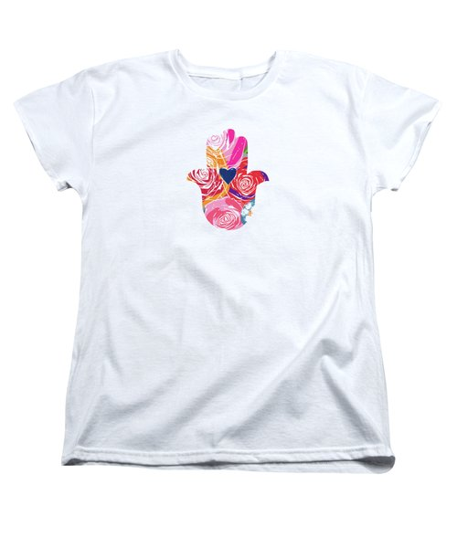 Women's T-Shirt (Standard Cut) featuring the mixed media Bold Floral Hamsa- Art By Linda Woods by Linda Woods