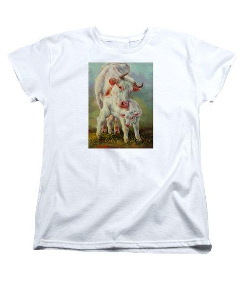 Women's T-Shirt (Standard Cut) featuring the painting Bonded Cow And Calf by Margaret Stockdale