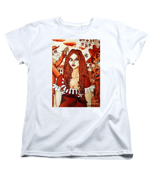 Women's T-Shirt (Standard Cut) featuring the painting Boor People And Girl by Don Pedro De Gracia