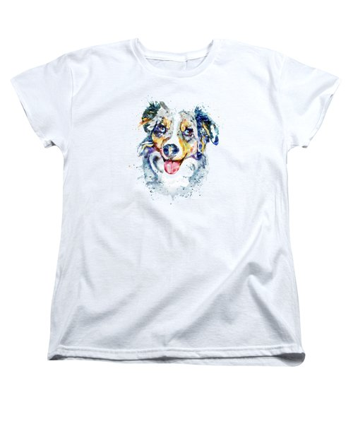 Women's T-Shirt (Standard Cut) featuring the mixed media Border Collie  by Marian Voicu