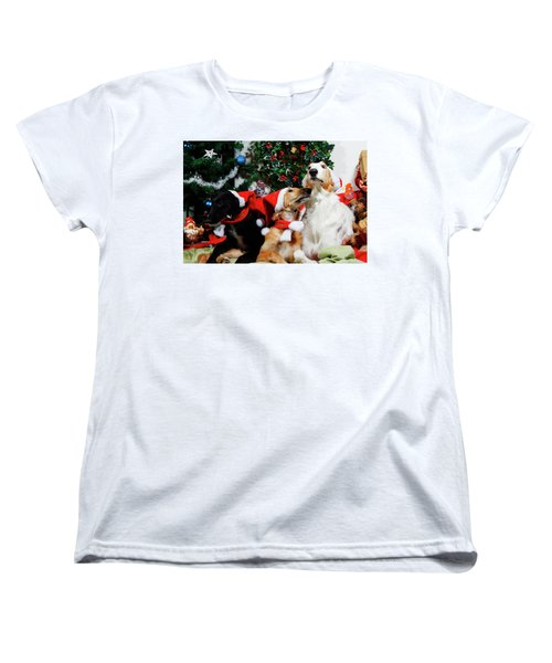 Borzoi Hounds Dressed As Father Christmas Women's T-Shirt (Standard Cut) by Christian Lagereek