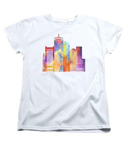 Boston Landmarks Watercolor Poster Women's T-Shirt (Standard Cut) by Pablo Romero