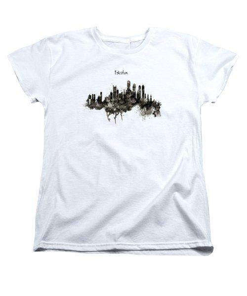 Boston Skyline Black And White Women's T-Shirt (Standard Cut) by Marian Voicu