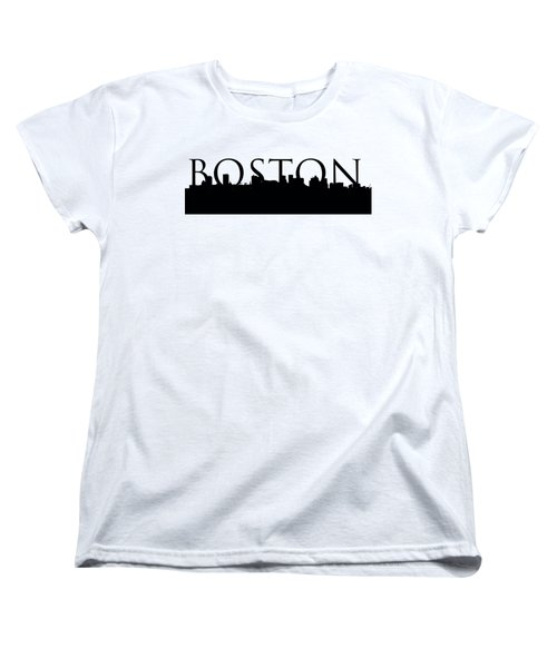 Boston Skyline Outline With Logo Women's T-Shirt (Standard Cut) by Joann Vitali