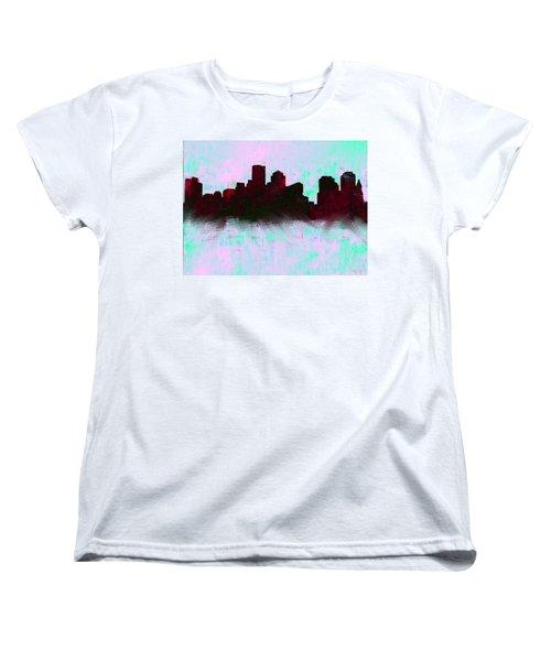 Boston Skyline Sky Blue  Women's T-Shirt (Standard Cut) by Enki Art