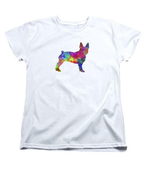 Boston Terrier 01 In Watercolor Women's T-Shirt (Standard Cut) by Pablo Romero
