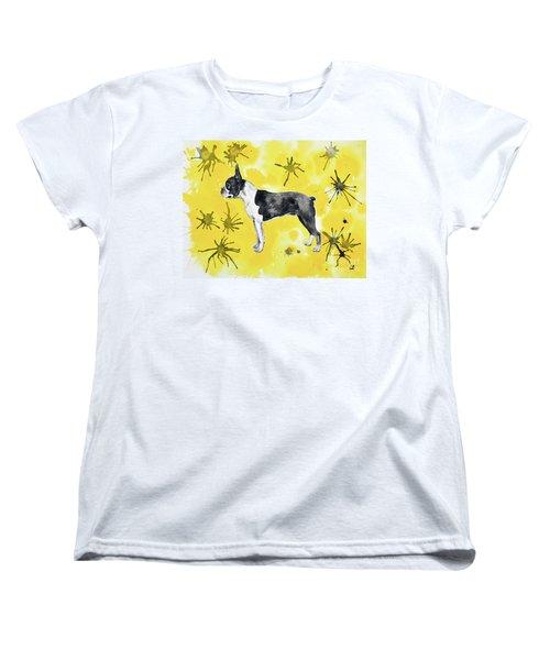 Women's T-Shirt (Standard Cut) featuring the painting Boston Terrier On Yellow by Zaira Dzhaubaeva