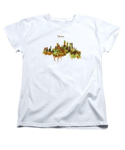 Boston Watercolor Skyline Women's T-Shirt (Standard Cut) by Marian Voicu
