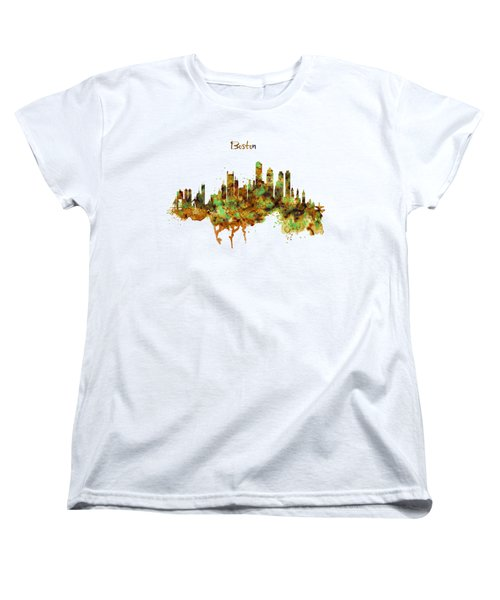 Boston Watercolor Skyline Women's T-Shirt (Standard Fit)