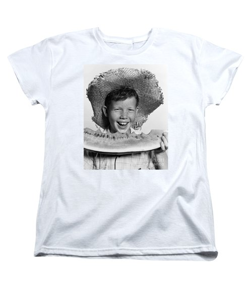 Boy Eating Watermelon, C.1940-50s Women's T-Shirt (Standard Cut) by H. Armstrong Roberts/ClassicStock