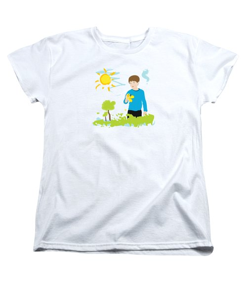 Boy Painting Summer Scene Women's T-Shirt (Standard Cut) by Serena King