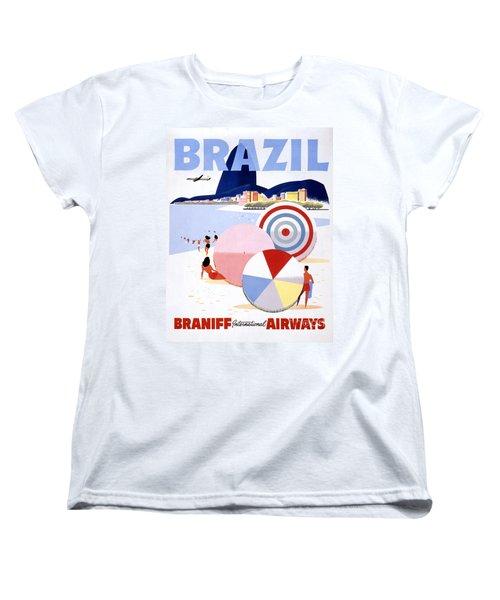 Brazil Vintage Travel Poster Restored Women's T-Shirt (Standard Cut) by Carsten Reisinger