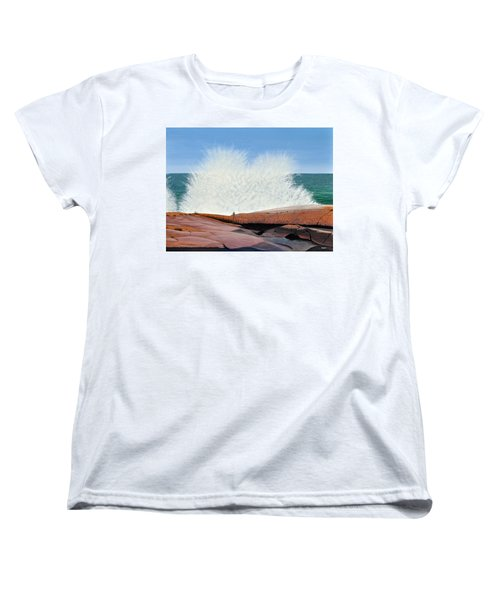 Women's T-Shirt (Standard Cut) featuring the painting Breakers On Georgian Bay by Kenneth M  Kirsch