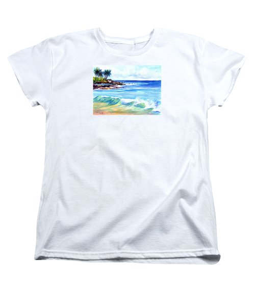 Women's T-Shirt (Standard Cut) featuring the painting Brennecke's Beach by Marionette Taboniar