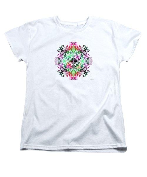 Bright Pattern Art - Color Fusion Design 9 By Sharon Cummings Women's T-Shirt (Standard Cut) by Sharon Cummings
