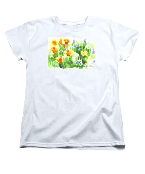 Women's T-Shirt (Standard Cut) featuring the painting Brightly April Flowers by Kip DeVore