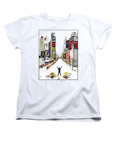 Women's T-Shirt (Standard Cut) featuring the drawing Broadway Dreamin' by Marilyn Smith