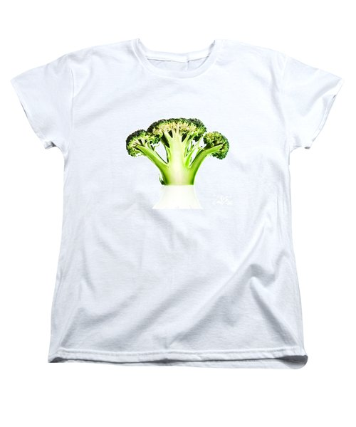 Broccoli Cutaway On White Women's T-Shirt (Standard Cut) by Johan Swanepoel
