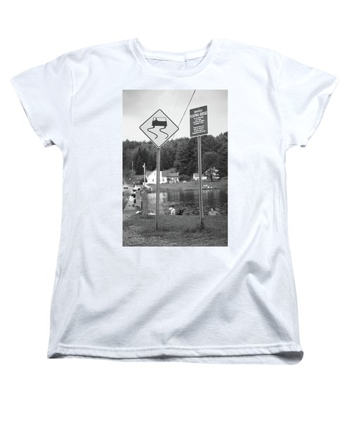 Women's T-Shirt (Standard Cut) featuring the photograph Brookfield, Vt - Floating Bridge 2 Bw by Frank Romeo
