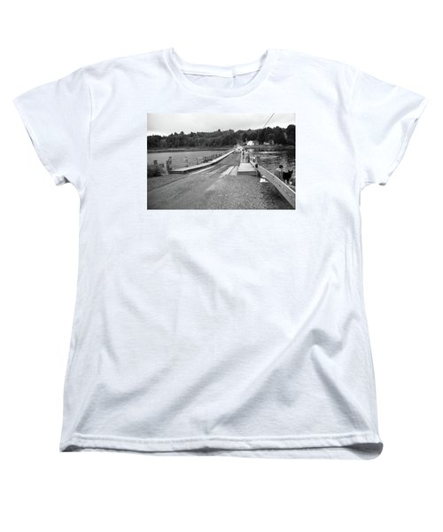 Women's T-Shirt (Standard Cut) featuring the photograph Brookfield, Vt - Floating Bridge 5 Bw by Frank Romeo