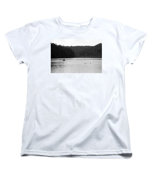 Women's T-Shirt (Standard Cut) featuring the photograph Brookfield, Vt - Swimming Hole 2006 Bw by Frank Romeo