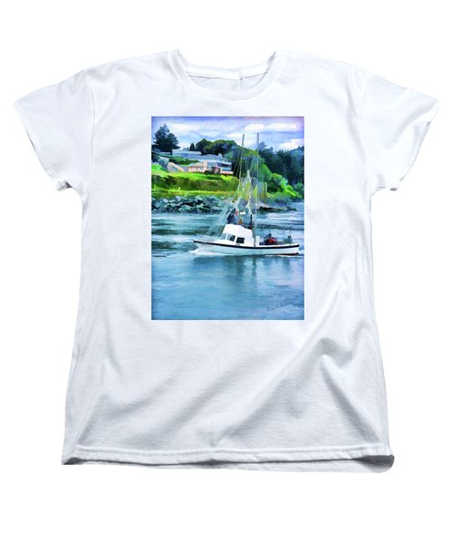 Brookings Boat Oil Painting Women's T-Shirt (Standard Cut) by Wendy McKennon