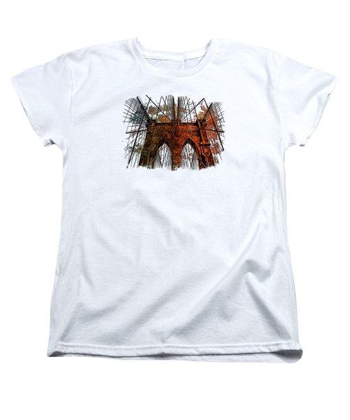 Brooklyn Bridge Earthy Rainbow 3 Dimensional Women's T-Shirt (Standard Cut) by Di Designs
