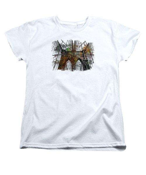 Brooklyn Bridge Muted Rainbow 3 Dimensional Women's T-Shirt (Standard Cut) by Di Designs