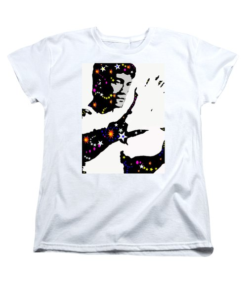 Women's T-Shirt (Standard Cut) featuring the drawing Bruce Lee Moving His Hands by Robert Margetts