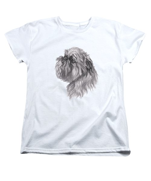Brussels Griffon Dog Portrait  Drawing Women's T-Shirt (Standard Cut) by I Am Lalanny
