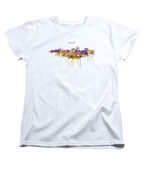 Brussels Skyline Silhouette Women's T-Shirt (Standard Cut) by Marian Voicu
