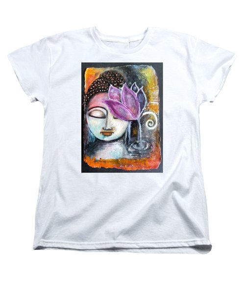 Women's T-Shirt (Standard Cut) featuring the mixed media Buddha With Torn Edge Paper Look by Prerna Poojara