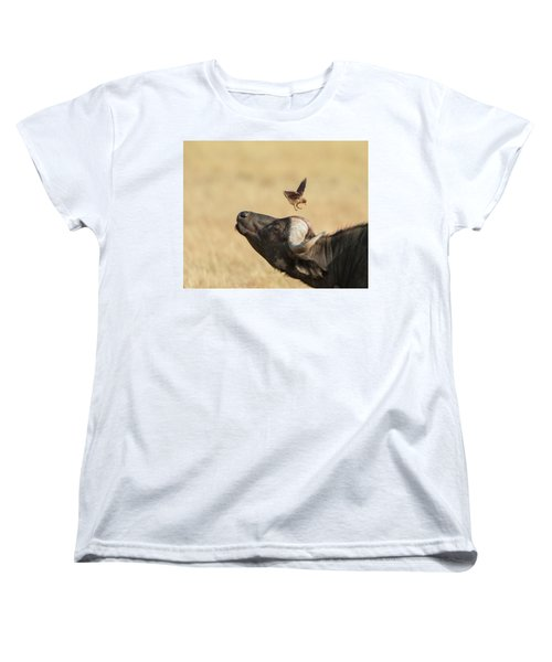 Women's T-Shirt (Standard Cut) featuring the photograph Buffalo And Oxpecker Bird by Phyllis Peterson
