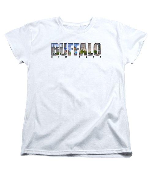 Buffalo Ny Entering Downtown Women's T-Shirt (Standard Cut) by Michael Frank Jr
