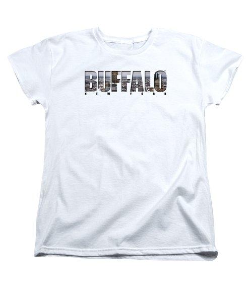 Buffalo Ny Snowy Cityscape Women's T-Shirt (Standard Cut) by Michael Frank Jr