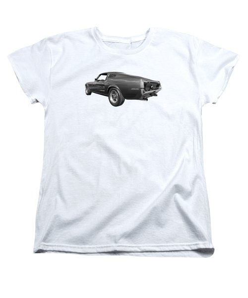 Women's T-Shirt (Standard Cut) featuring the photograph Bullitt Mustang 1968 In Black And White by Gill Billington
