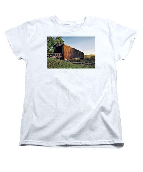 Women's T-Shirt (Standard Cut) featuring the photograph Burfordville Covered Bridge by Cricket Hackmann