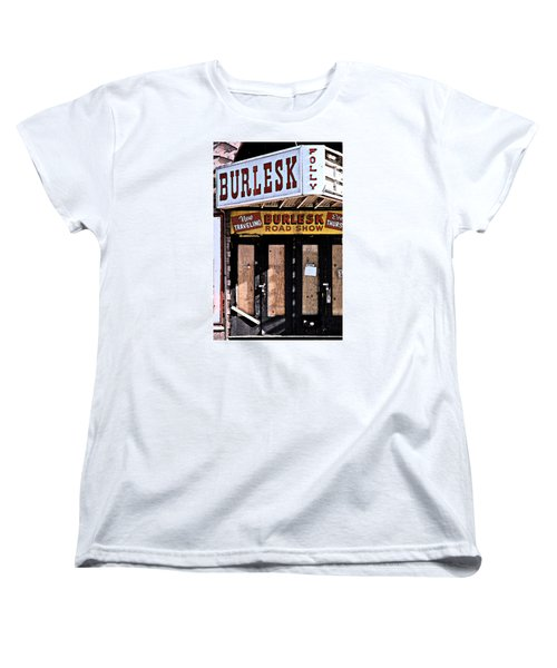 Women's T-Shirt (Standard Cut) featuring the photograph Burlesk At The Folly by Jim Mathis