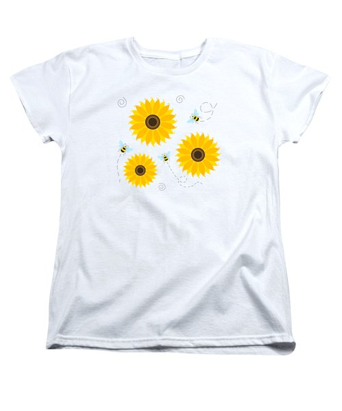 Busy Bees And Sunflowers - Large Women's T-Shirt (Standard Cut) by SharaLee Art