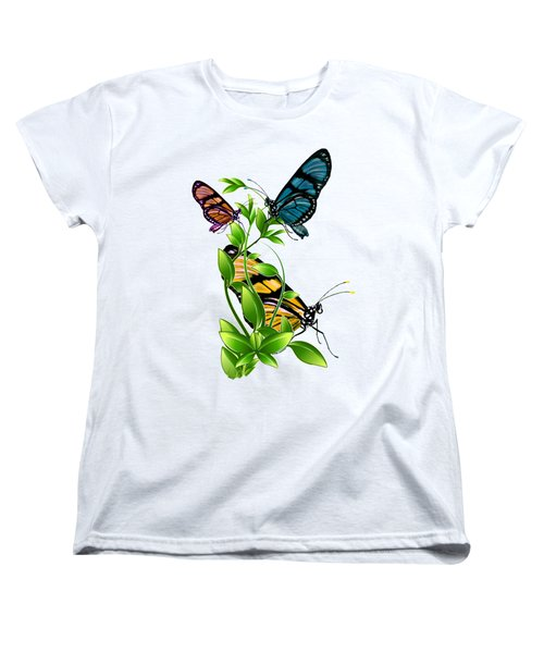 Butterflies On Leaves Women's T-Shirt (Standard Cut) by Ericamaxine Price