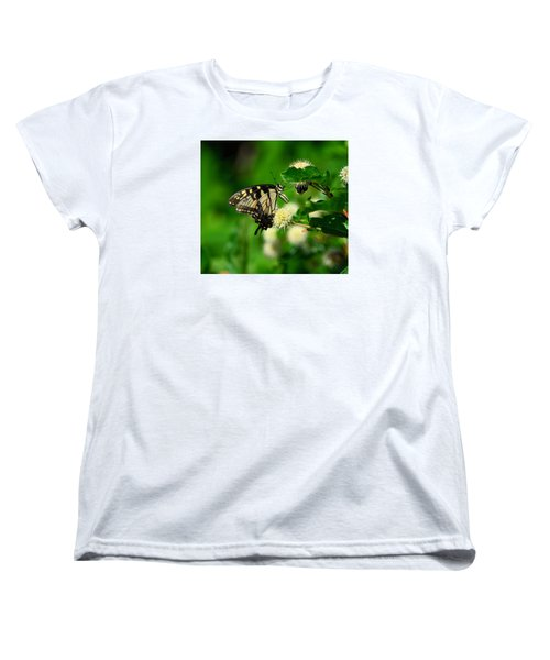 Butterfly And The Bee Sharing Women's T-Shirt (Standard Cut) by Kathy Eickenberg