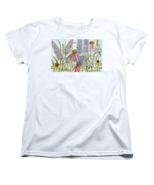 Women's T-Shirt (Standard Cut) featuring the painting Butterfly Bush In Garden by Laurie Rohner