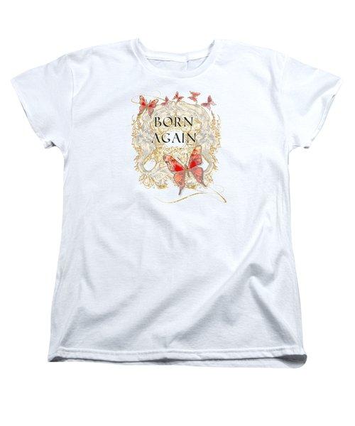 Butterfly Butterflies Swirling Born Again Christian Symbol Women's T-Shirt (Standard Cut) by Audrey Jeanne Roberts